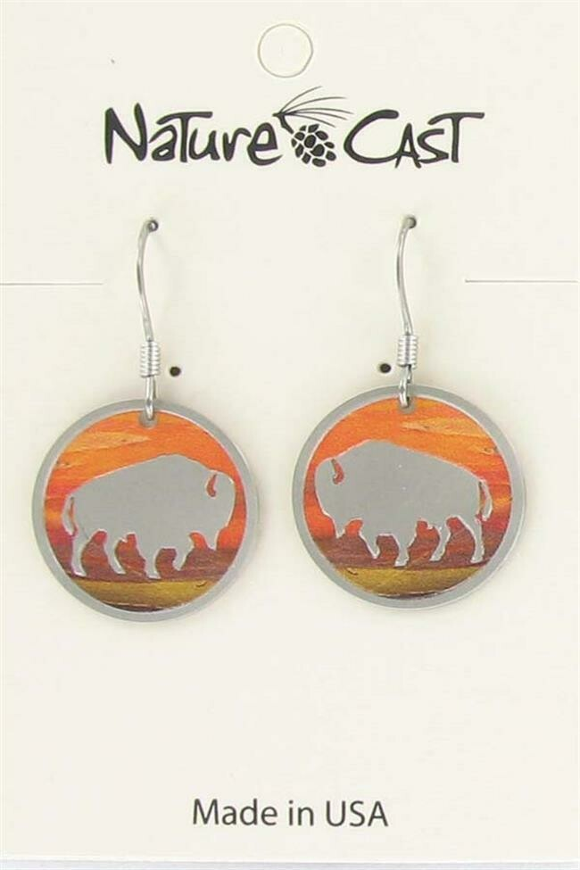 Earring Dangle Sunset Round Bison