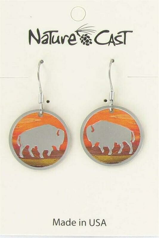 Round Sunset Bison Earrings