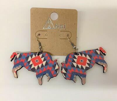 Fire Canyon Buffalo Wood Earrings