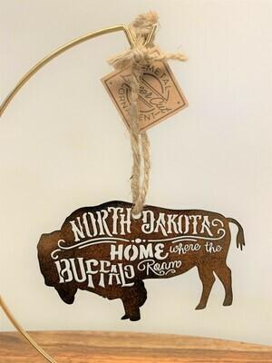 Metal North Dakota Buffalo Ornament