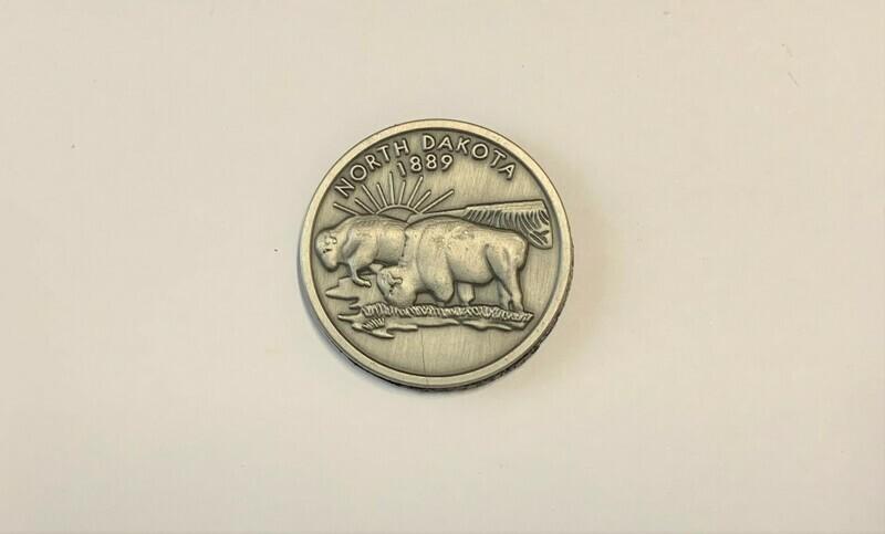 North Dakota Pewter Quarter Magnet