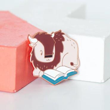 Bison Reading Enamel Pin