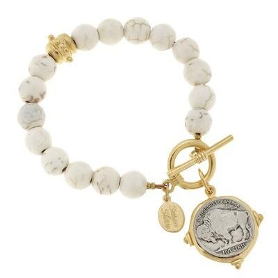 Vintage Coin White Turquoise Bracelet