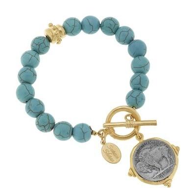 Vintage Coin Turquoise Bracelet