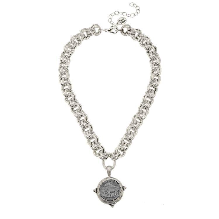 Silver Vintage Coin Necklace
