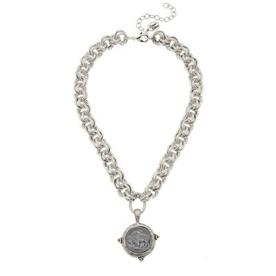 Silver Vintage Coin Necklace