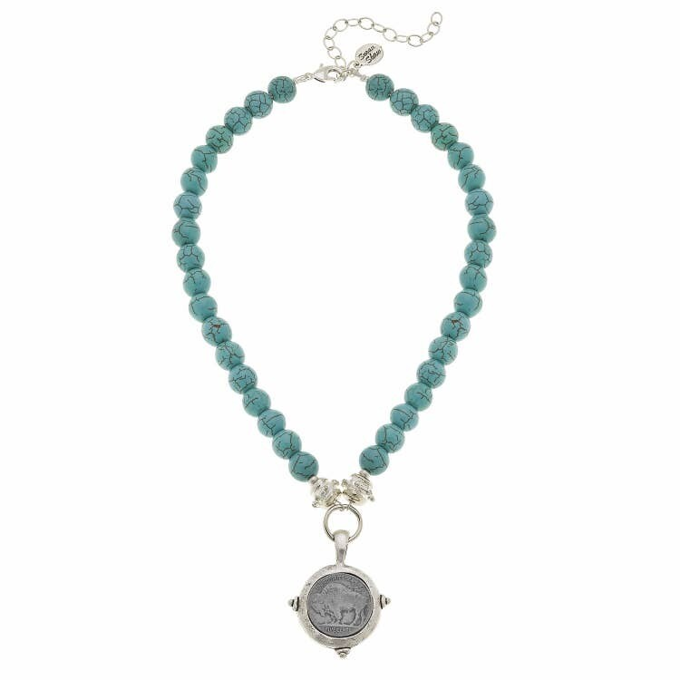 Vintage Coin Turquoise Necklace