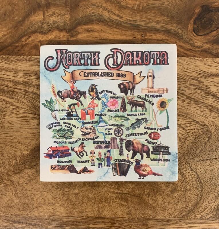 North Dakota Watercolor Coaster