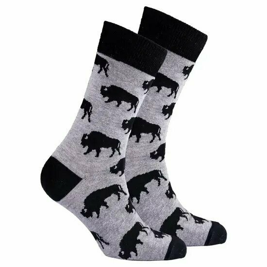 Men's Gray and Navy Bison Socks