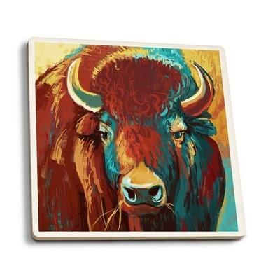 Bison Vivid Ceramic Coaster