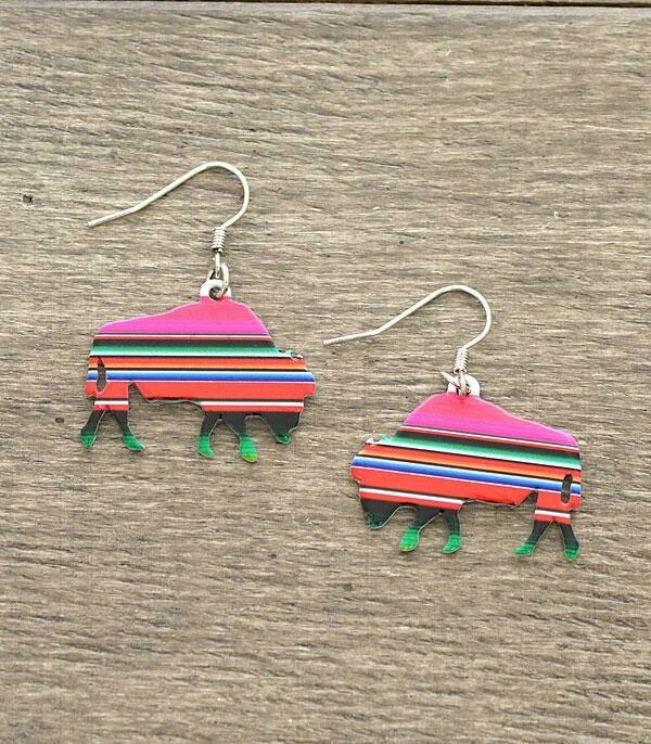 Pink Serape Bison Earrings
