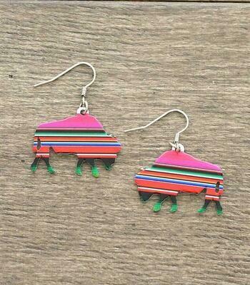 Pink Serape Bison Earrings