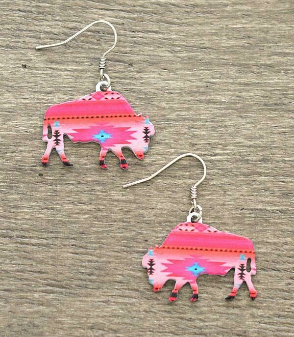 Aztec Pink Bison Earrings