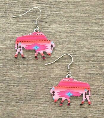Aztec Pink Bison Earrings