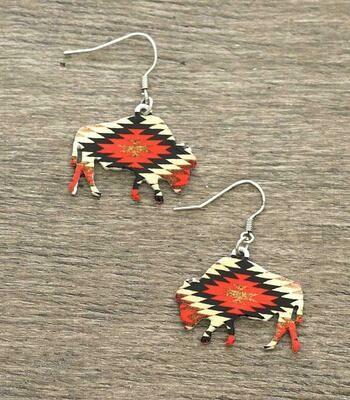 Aztec Red Bison Earrings