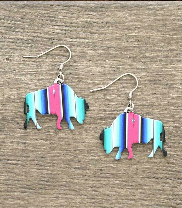 Turquoise Serape Bison Earrings