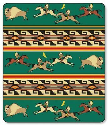 Green Buffalo Hunt Plush Blanket