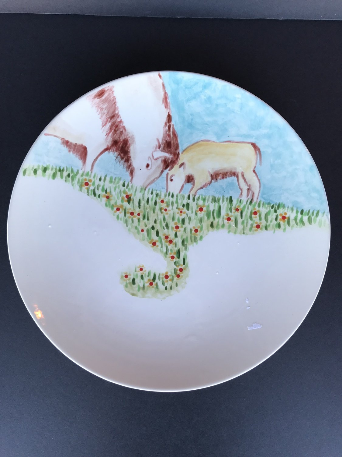 10' Salad Plate Bison Cow and Calf