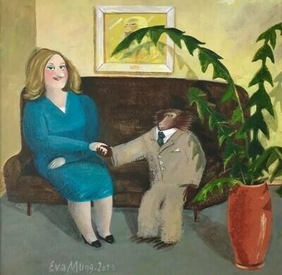 """Eva Muggenthaler - """"Dame mit Affe"""" UNIKAT"""