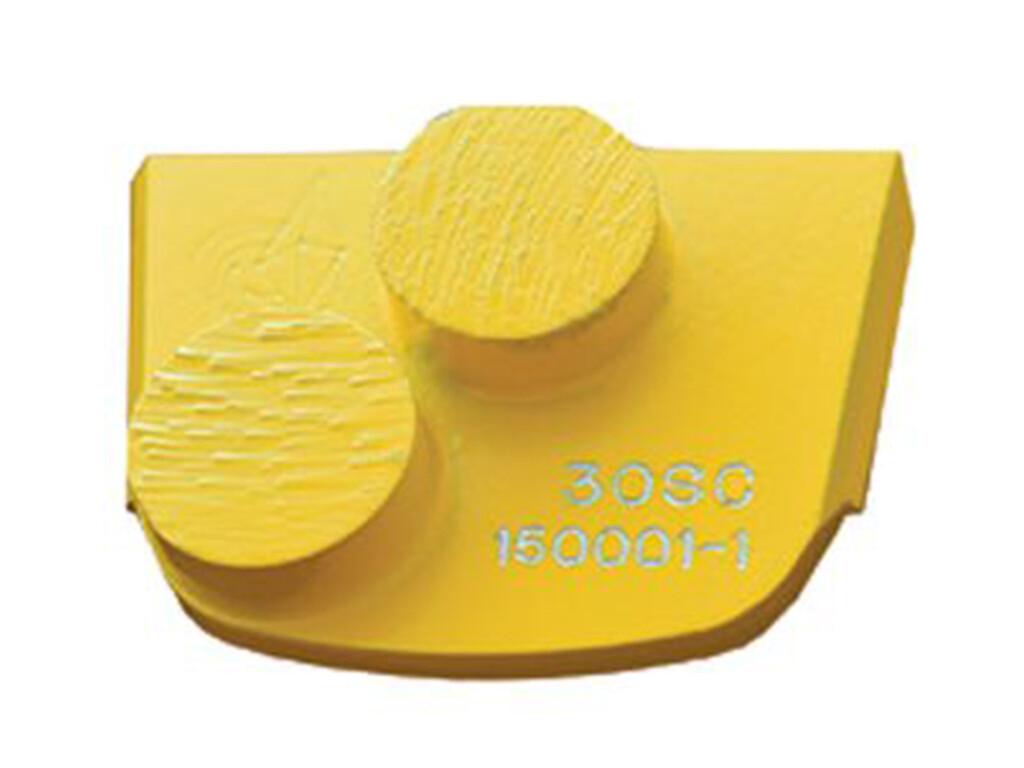 Шлифовальный сегмент для мягкого бетона. Желтый с двумя кнопками