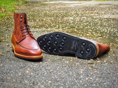 Cru Nonpareil Aripo Derby Boot in Medium Brown Smooth Calf/Pebble Grain/Suede