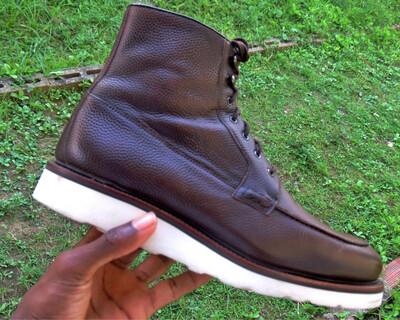 Cru Nonpareil Aripo Derby Boot in Dark Brown Pebble Grain