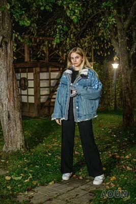 Джинсовая куртка с росписью «Гжель», на подстежке из норки