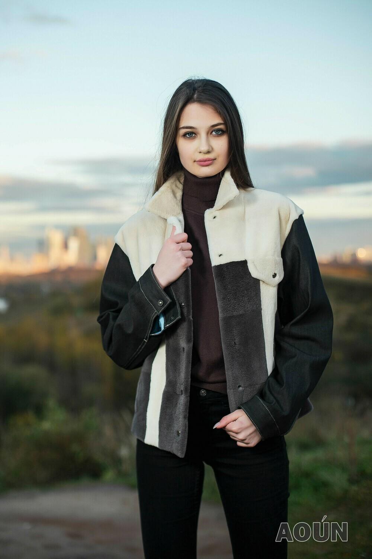 Куртка из стриженной норки с джинсовыми рукавами