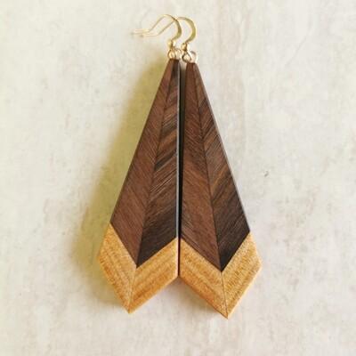 PIUMA DI NOCE - Walnut & Kauri Wooden Earrings