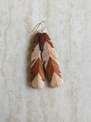 RURU - Hand Carved Wooden Feathers Earrings with Sterling silver 925
