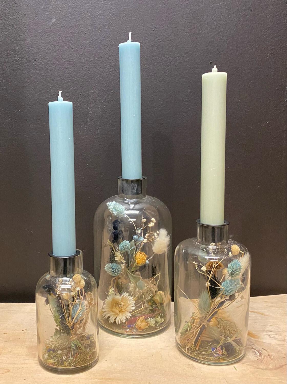 Kandelaars glas ' Blue'