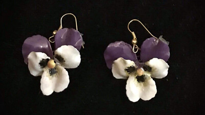 🇮🇹Orecchini con viola - Earrings with pansy🇬🇧