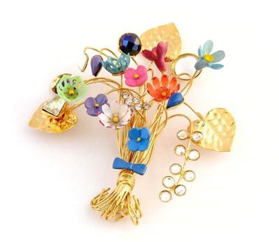 🇮🇹Spilla ramage bouquet floreale - Floral bouquet ramage brooch🇬🇧