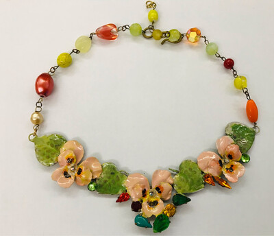 🇮🇹Collier pensees rosa e pietre - 🇬🇧Collier with pink pansy and stones