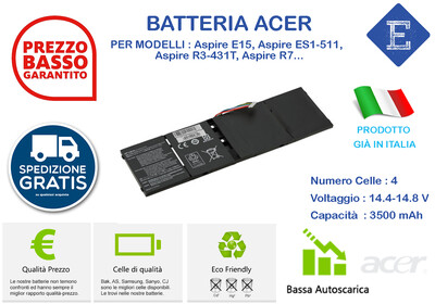 Batteria per Acer Aspire E15, Aspire ES1-511,   Aspire R3-431T, Aspire R7...