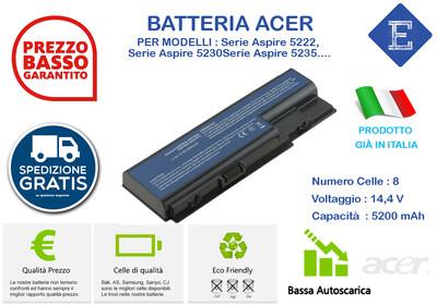 Batteria per Acer Serie Aspire 5222, Serie Aspire 5230, Serie Aspire 5235, Serie Aspire 5310