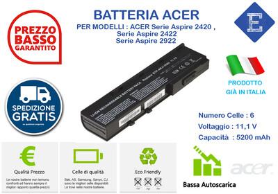 Batteria per  ACER Serie Aspire 2420 , Serie Aspire 2422 Serie Aspire 2922