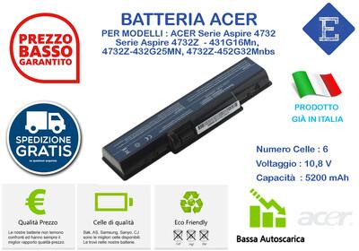 Batteria per ACER Serie Aspire 4732, Serie Aspire 4732Z 4732Z-431G16Mn, 4732Z-432G25MN, 4732Z-452G32Mnbs