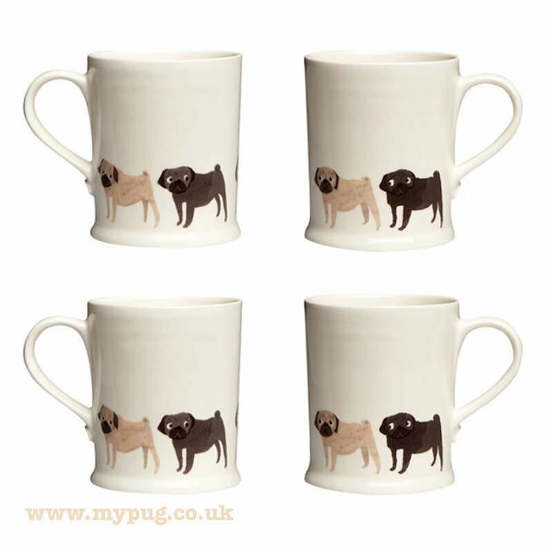 Pug Mug set of 4 by Fenella Smith