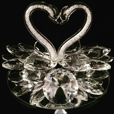 Swan Couple on Mirror Base* -Cut Glass Crystal-