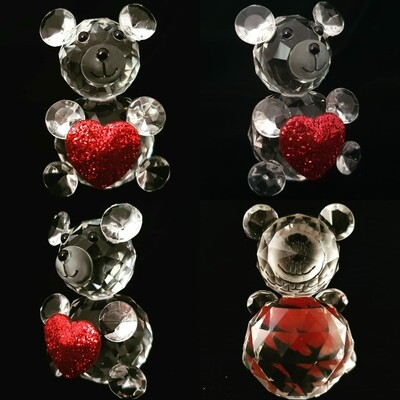 Teddy Bear Heart* -Cut Glass Crystal-