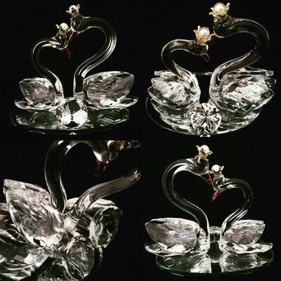 Small Crown Swan Couple Mirror Base* -Cut Glass Crystal-
