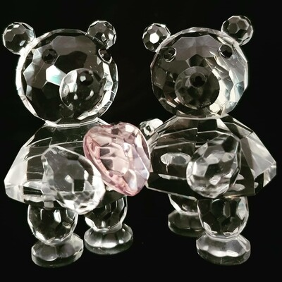 Couple Teddy Bear Heart* -Cut Glass Crystal-