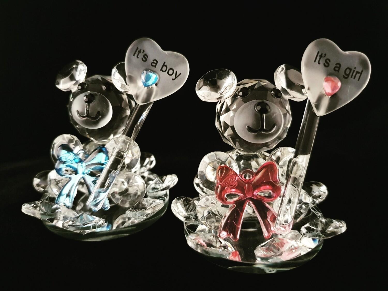 It's a Boy/Girl Teddy Bear* -Cut Glass Crystal-