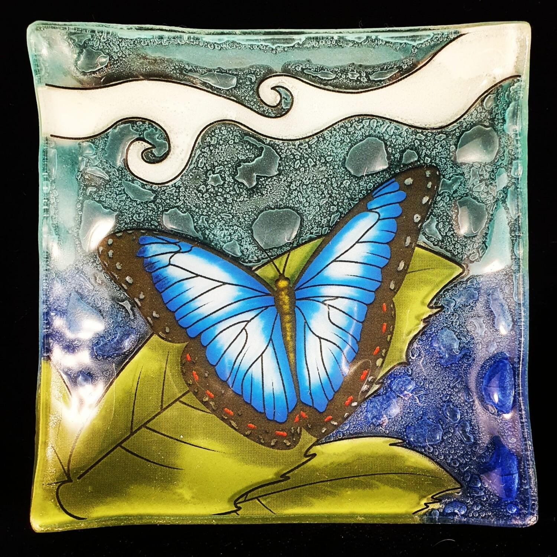 Dark Blue Butterfly Slump Plate*