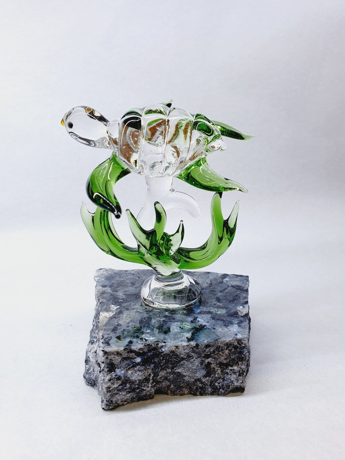 Green Turtle with Coral on Granite Base