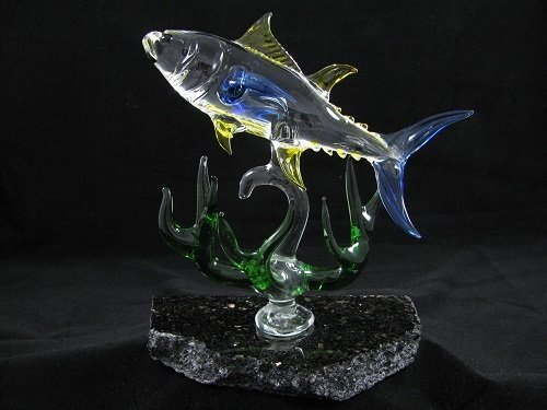 Yellow Fin Tuna with Coral on Granite Base