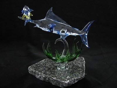 Marlin with Coral and Mini Yellow Fin Tuna on Granite Base