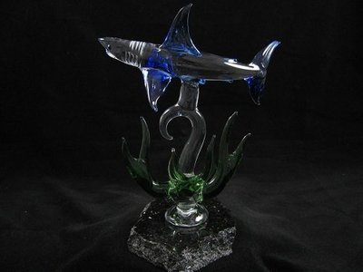 Reef Shark with Coral on Granite Base