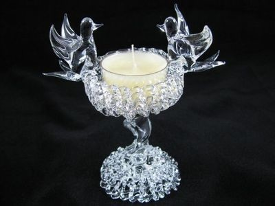 Birdbath Tea Light Candle Holder on Lacework Base